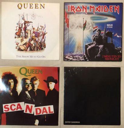 HARD ROCK / METAL Lot de 60 disques 33 T et de 15 disques 45 T des classiques du...