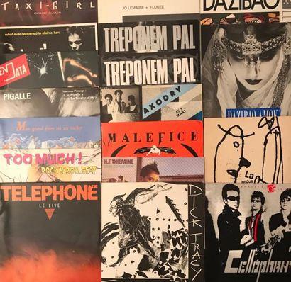 ROCK FRANCAIS Lot de 65 disques 33 T et de 2 disques 45 T de rock Français. VG à...