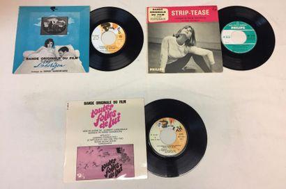 BANDES ORIGINALES DE FILMS Lot de 3 disques 45 T EP de musiques de films composées...
