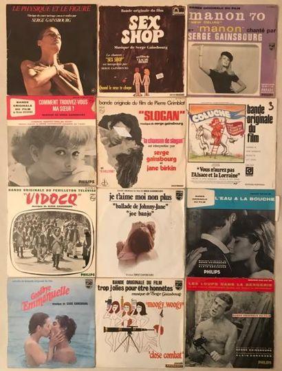 BANDES ORIGINALES DE FILMS Lot de 12 disques 45 T et disques 45 T EP de musiques...