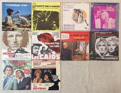 BANDES ORIGINALES DE FILMS .Lot de 8 disques 45 T et de 2 disques 45 T EP de musiques...