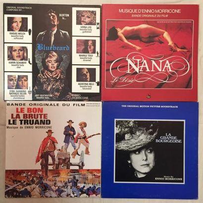 BANDES ORIGINALES DE FILMS Lot de 28 disques 33 T de musiques de films composées...