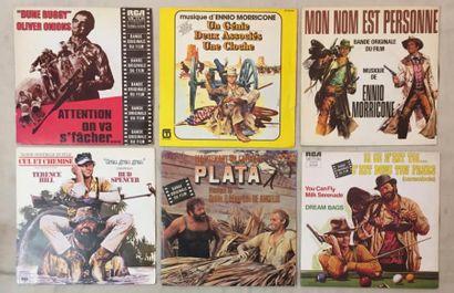 BANDES ORIGINALES DE FILMS Lot de 4 disques 33 T et de 6 disques 45 T de musiques...