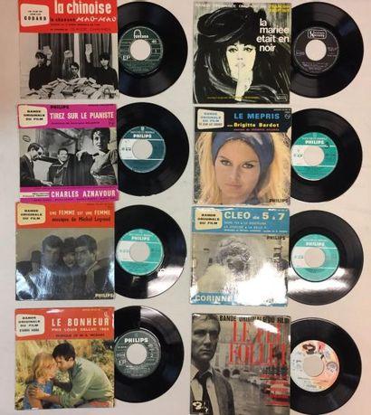 BANDES ORIGINALES DE FILMS Lot de 10 disques 45 T/ disques 45 T EP de musiques de...