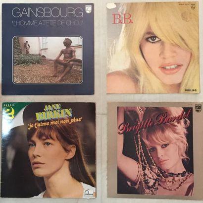 CHANSON FRANCAISE Lot de 24 disques 33 T et 15 disques 45 T de Serge Gainsbourg +...