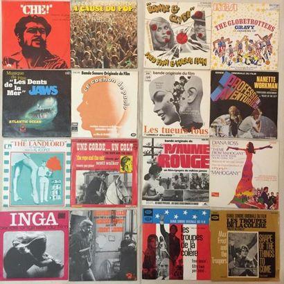 BANDES ORIGINALES DE FILMS Lot de 40 disques 45 T de musiques de films internationaux...