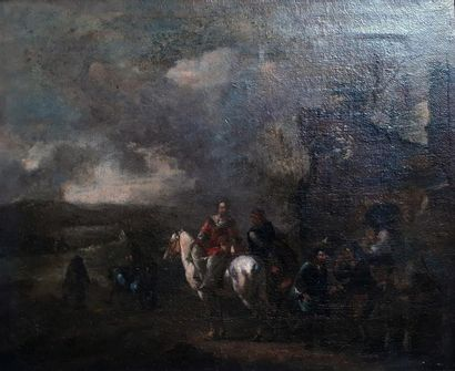 "Ecole de WOUWERMANS Pieter (1623 - 1682)  ""Halte de cavaliers""  Huile sur toile..."