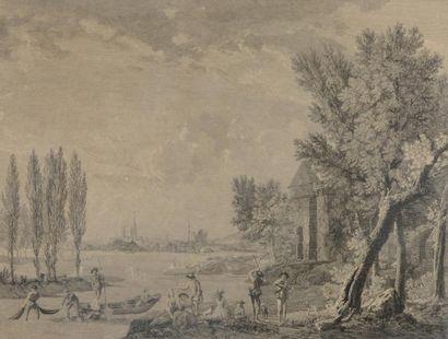 """D'après Jean-Baptiste PILLEMENT (1728-1808)  """"Les plaisirs de l'hiver""""  Gravure..."""
