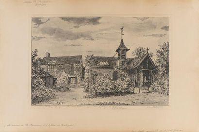 """JACQUE Marcel (XIX-XXe siècle)  """"L'atelier de Théodore Rousseau""""  Eau-forte, signée..."""