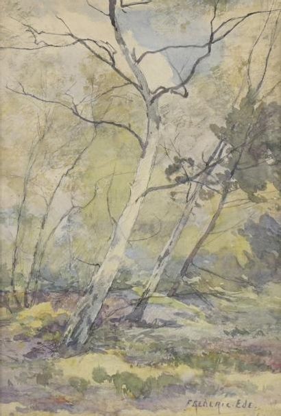 """Frédéric EDE (1865-1913)  """"Les bouleaux"""", """"Les bruyères"""", """"Grands arbres près des..."""