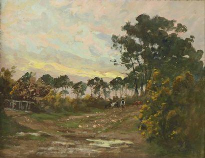 LABITTE Eugène Léon (1858-1937) 'Vaches sur...