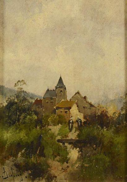 """GALIEN LALOUE Eugène (1854-1941)  """"Village en basse-normandie""""  Huile sur panneau,..."""