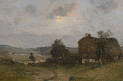 """JAPY Louis Aimé (1840-1916)  """"Berger près..."""