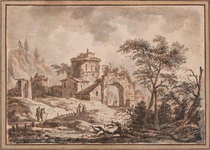 """ECOLE FRANCAISE du XVIIIe siècle  """"Paysage de campagne aux ruines avec couple de..."""