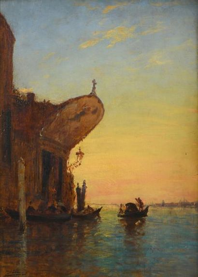 ZIEM Félix (1821-1911)  « Gondoles, La chapelle...