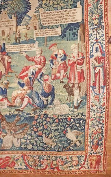 Tapisserie des Flandres (Bruges) Le repas champêtre. La cinquième des neuf scènes...