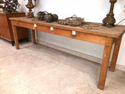 Grande table d'atelier en bois naturel, ...