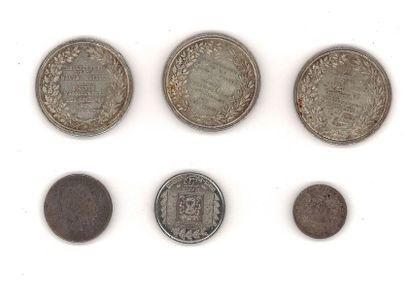 Lot de pièces et médailles en argent,  poids total: 57,22 g