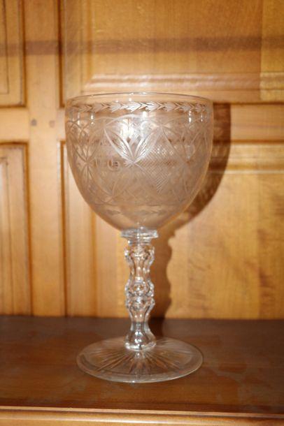 Vase de mariage en verre gravé  XIXe siècle...