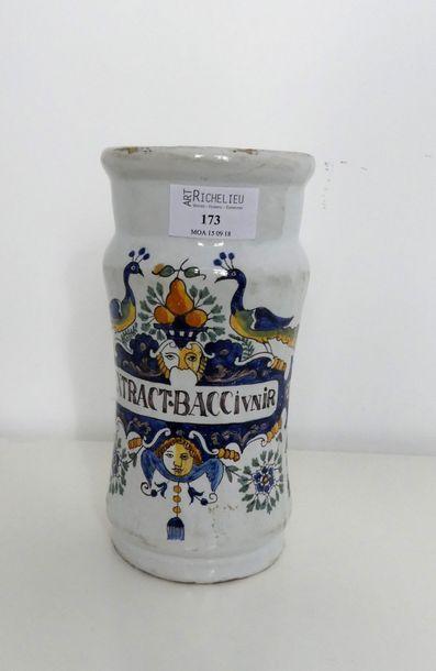 Pot à pharmacie en faience polychrome à décor...