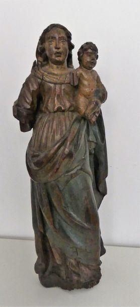Vierge à l'enfant en bois polychrome  XVIIIe...