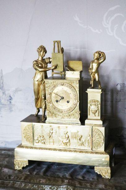 Pendule en bronze doré,