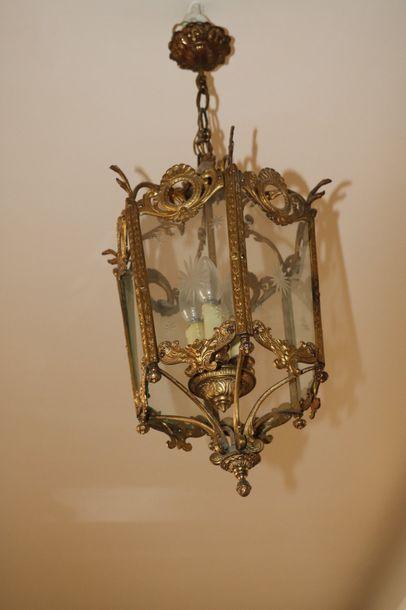 Lanterne de vestibule hexagonale en laiton...