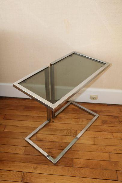 Deux bouts de canapé en verre et métal,  Circa...