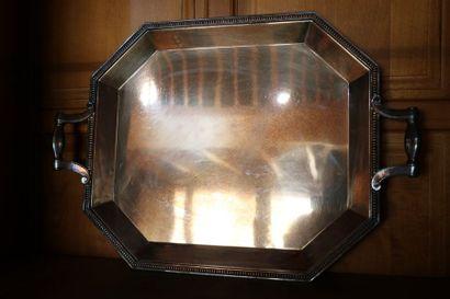 Plateau à pans coupés en métal argenté