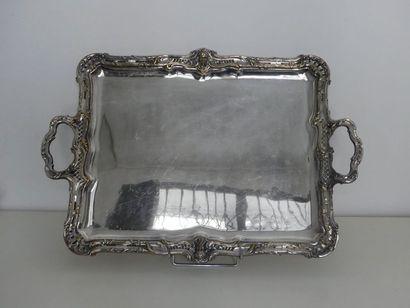 Grand plateau à deux anses en métal argenté,...