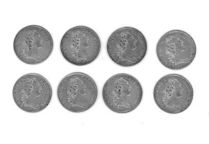 Louis XV (1715-1774) - Huit jetons d'argent...