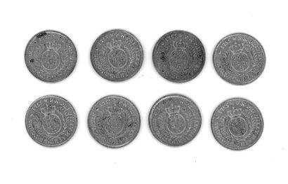Louis XV (1715-1774) - Huit jetons d'argent Mairie de Tours, 1755.  Diam.: 30 mm,...