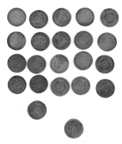 Louis XVI (1774-1792) - Vingt-et-une pièces d'un cinquième d'écu en argent buste...