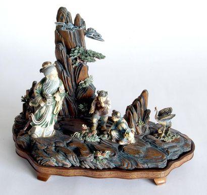 Original GROUPE en ivoire et bois sculpté,...