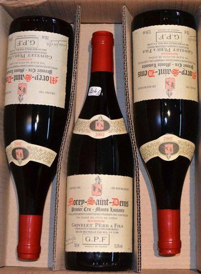 3 bouteilles MOREY ST DENIS 1er cru 2002...
