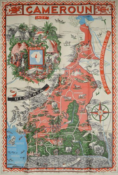 CAMEROUN - AFFICHE Affiche carte lithographiée...
