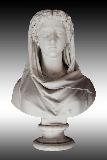 Galli PIZZARDO, XIXe. Buste de femme voilée...