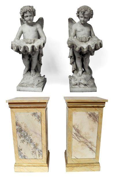 Italie, XIXe. Paire d'importants ANGES en...