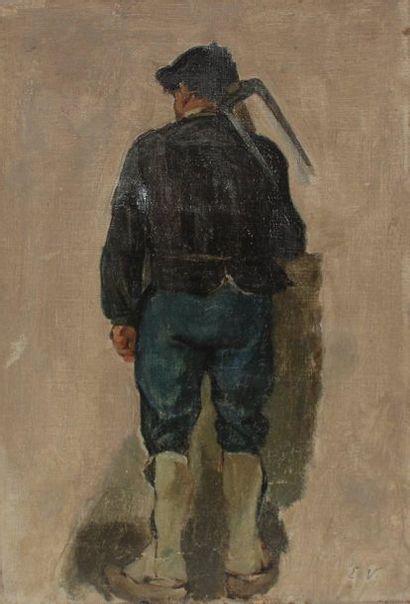 Emil VOLKERS (1831-1905) Etude de paysan...