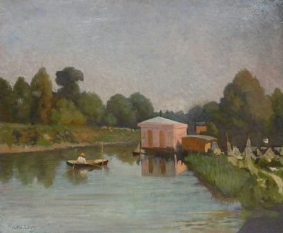 Alphonse LEVY (1843-1918) Barque sur l'étang....