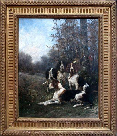 René VALETTE (1874-1956) Trois chiens de...