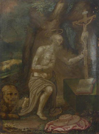 Ecole XVIIe-XVIIIe. Saint Jérôme dans le...
