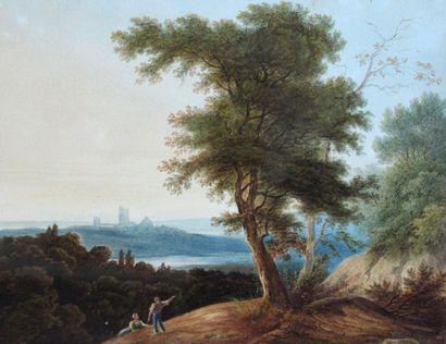 Ecole romantique, XIXe. Couple dans un paysage...