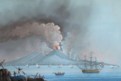 Ecole napolitaine, XIXe. L'éruption du Vésuve...