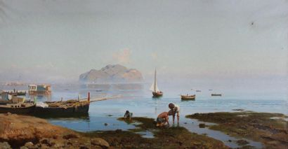 Francesco LOJACONO (1841-1915) Jeunes pêcheurs...