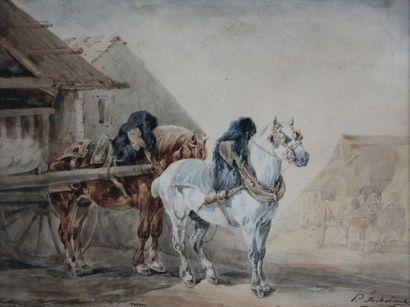 Piotr MICHALOWSKI (1801-1855) Chevaux d'attelage....