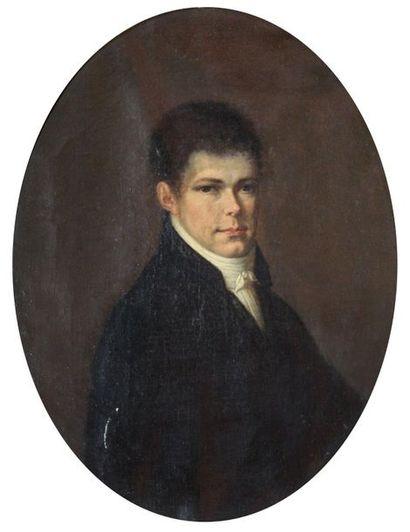 Ecole française début XIXe. Portrait de M....