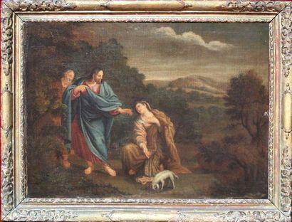 Ecole française XVIIIe. Le Christ et la Samaritaine....