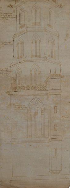 Ecole toulousaine du XVIème siècle Projet de clocher occitan à cinq niveaux sur...