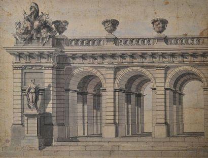 P.L. HUGON (actif vers 1700) Projet de terrasse....